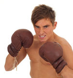 Fighting young man with boxing gloves Stock Image