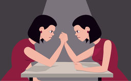Fighting with yourself. Woman arm wrestling with herself, illustrating personality issues, vector illustration Royalty Free Stock Photo
