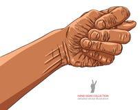 Figi fico ręki znak, Afrykański pochodzenie etniczne, szczegółowy wektorowy illustrat Fotografia Stock