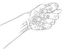 Figi fico ręki znak, szczegółowy czarny i biały linia wektoru illust Zdjęcia Stock