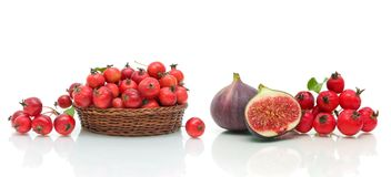 Figi, jabłka i głogowe jagody na białym tle, Obraz Stock