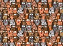Figlarek i kotów bezszwowy wzór Wektorowy niekończący się tło projekt Śmieszni kreskówek zwierzęta domowe Obraz Royalty Free