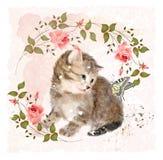 Figlarka z różami i motylem Zdjęcia Royalty Free