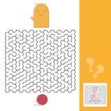 Figlarki I wełny labiryntu Balowa gra z rozwiązanie wektoru ilustracją ilustracja wektor