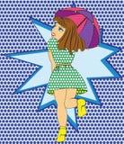 Figlarnie dziewczyna z parasola stylu wystrzału sztuką ilustracji