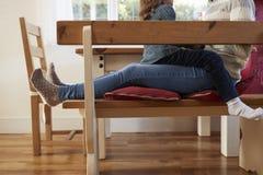 Figlia che si siede sul ` s Lap At Home And Laughing della madre Fotografie Stock