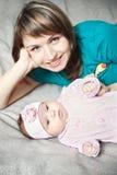 Figlia del bambino e della madre Fotografia Stock