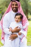 Figlio arabo del padre Fotografia Stock