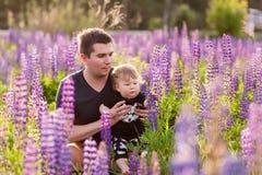 Figlio del bambino con il papà nel campo del lupino Fotografia Stock Libera da Diritti