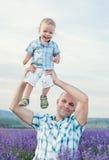 Figlio felice del bambino con il papà Fotografie Stock Libere da Diritti
