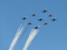 Fignter MiG-29 i Su-27 Obrazy Royalty Free