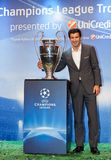 Figo with Champions League Cup Royalty Free Stock Photo