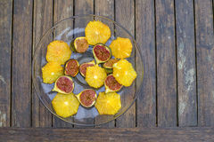 Figos e laranjas Fotos de Stock