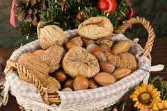 Figos Nuts e secados (no Natal) foto de stock
