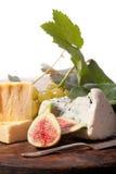 Figos, uvas e queijo Imagens de Stock
