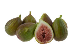 Figs. Group of Fresh, Whole and Sliced Figs  Isolated on White Background Stock Image