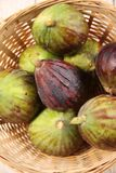 Figs. Fresh figs in a basket, top view Stock Image