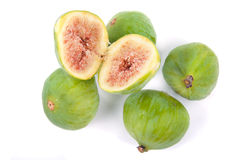 Figs. Some ripe figs isolated on white Stock Photos
