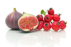 Figs and apples on white background Stock Photography