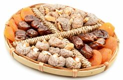 Figs, apricots, dates and walnuts Royalty Free Stock Photos