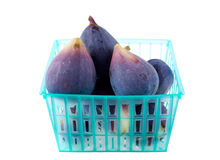 Figs in a basket. On white background Royalty Free Stock Photos