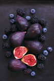 Figs, blackberries and blueberries Royalty Free Stock Photo