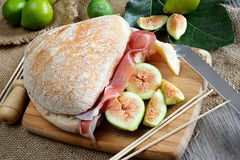 Figs bread and ham Stock Image