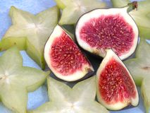Figs and carambola stock image