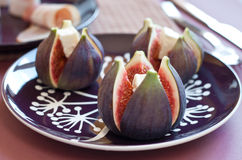 Figs with cheese Stock Photos