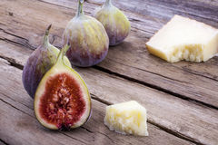 Figs and cheese on wood Stock Photo