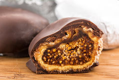 Figs in chocolate Stock Image