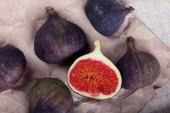Figs on crumpled paper Stock Images