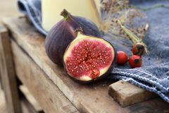 Figs. Fresh figs on a denim background Royalty Free Stock Photos