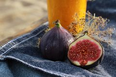 Figs. Fresh figs on a denim background Stock Photography