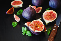 Figs and fresh mint leaves Stock Photos