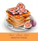 Figs fruits Healthy breakfast waffles Vector. Healthy waffles breakfast with fig fruits topping. Vector illustration Royalty Free Stock Photo