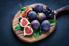 Figs and grapes Stock Images