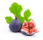 Figs with green leaves Royalty Free Stock Photo