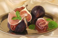 Figs with ham Royalty Free Stock Photography