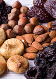 Figs, hazelnuts, almond, prune Stock Images