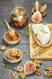Figs with Honey and Fresh Cheese Royalty Free Stock Photo