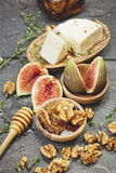 Figs with Honey and Fresh Cheese Stock Photos
