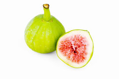 Figs isolated, sliced and fresh Royalty Free Stock Photography