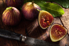 Figs and knife Royalty Free Stock Photo