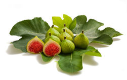 Figs with leaf Stock Photos