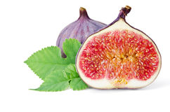 Figs with leaf Royalty Free Stock Photos