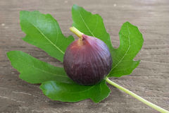 Figs with leaves on the table Stock Photo