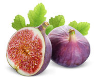 Figs with leaves on a white background Royalty Free Stock Image