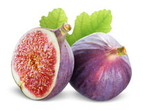 Figs with leaves on a white background Royalty Free Stock Photo