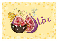 Figs in love and in chocolate. Hand drawn postcard from `Fruit Love & Sweet` collection. A6 format postcard Stock Photo